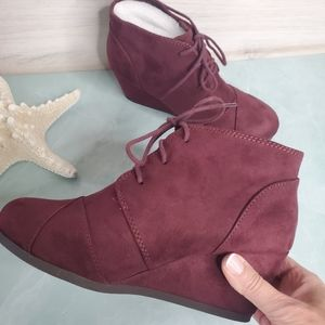 New! Burgundy Lace Up Wedge Booties